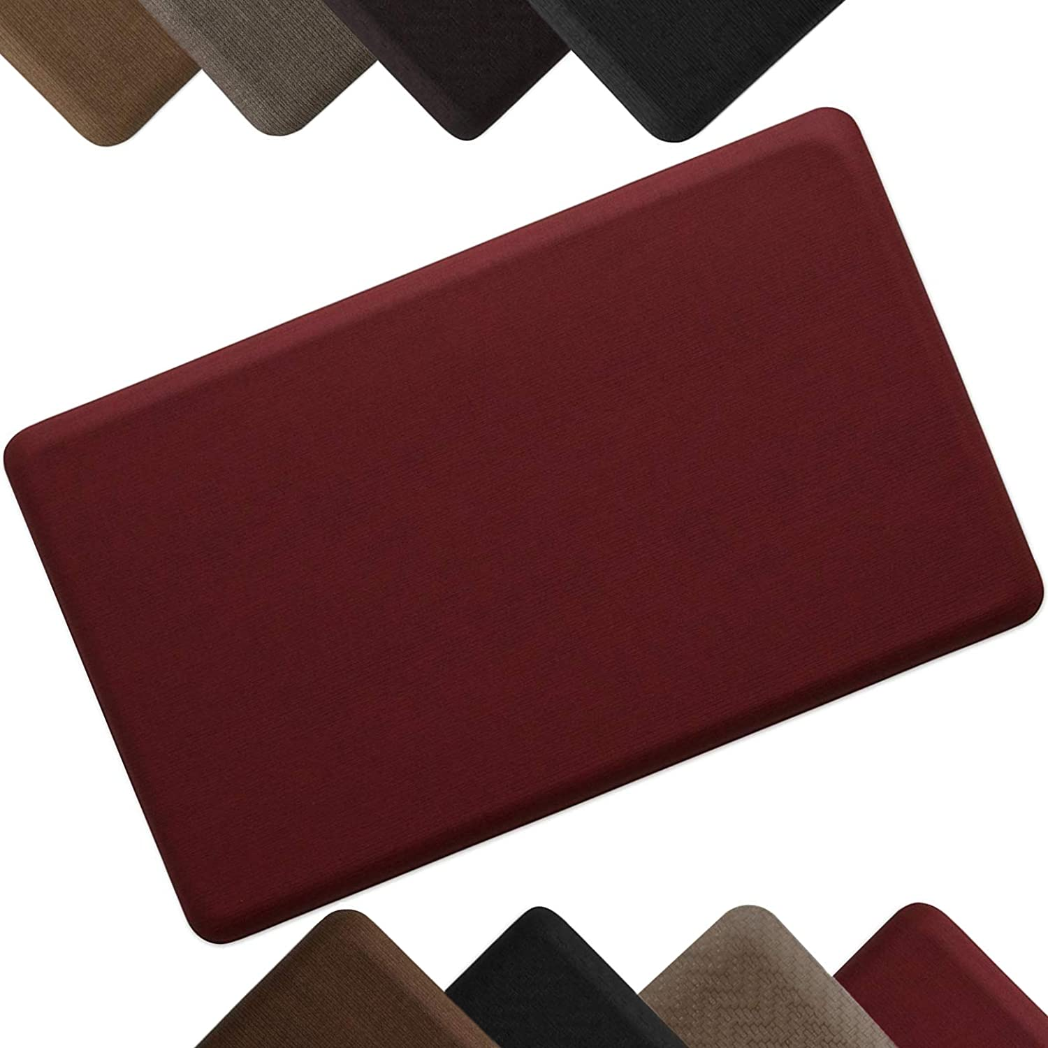 """NewLife by GelPro Anti-Fatigue Designer Comfort Kitchen Floor Mat Stain Resistant Surface with 5/8"""" thick ergo-foam core for health and wellness 18x30 Grasscloth Crimson"""