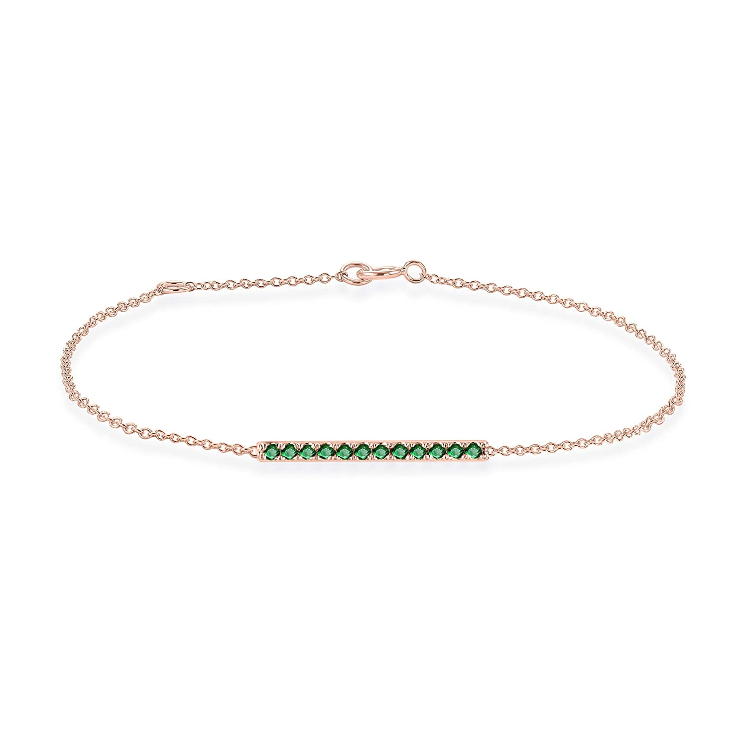 Rare Earth Diamond Jewellery Round Cut Emerald Horizontal Bar Bracelet in 14K Gold Over Sterling Silver BR000537A-ALL-GE-925-Y-8