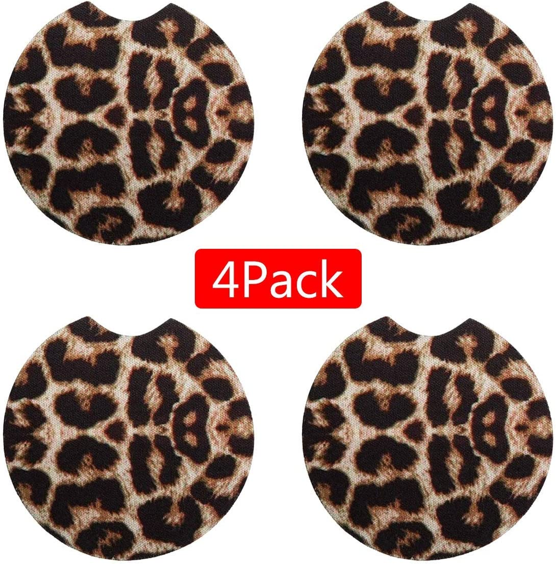 Ztent Car Coasters, 4 PCS Leopard Car Coasters Absorbent Cup Holders Rubber Car Cup Pad Mat Car Accessories for Car Living Room Kitchen Office to Protect Car and Furniture (2.56