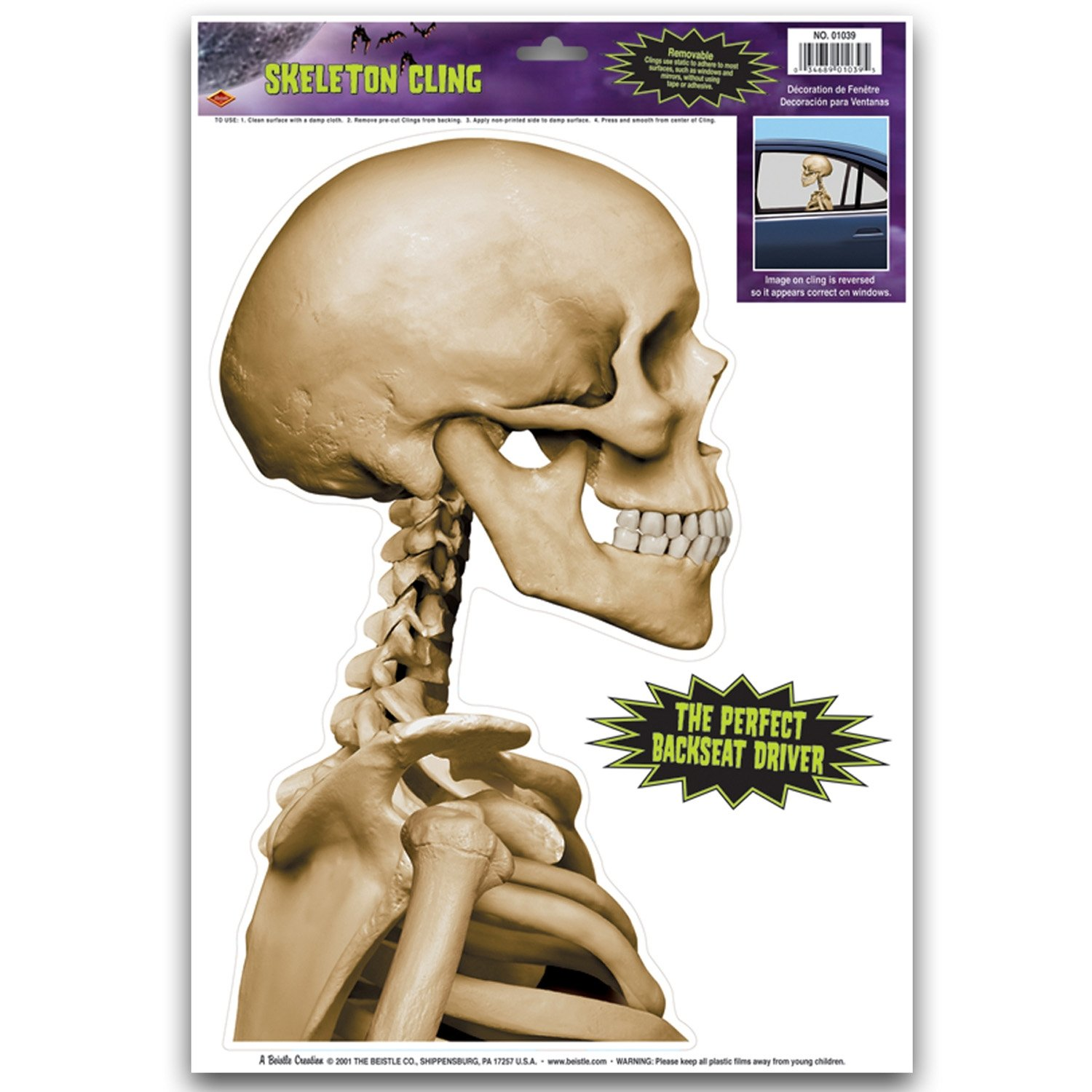 amazoncom skeleton backseat driver car cling party accessory 1 count 1sh kitchen u0026 dining
