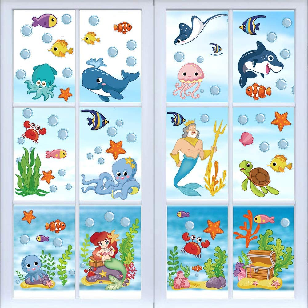 CCINEE 214PCS Ocean Themed Window Cling Stickers,Mermaid Sea Life Fish Window Decals for Kids Party Bathroom Decoration
