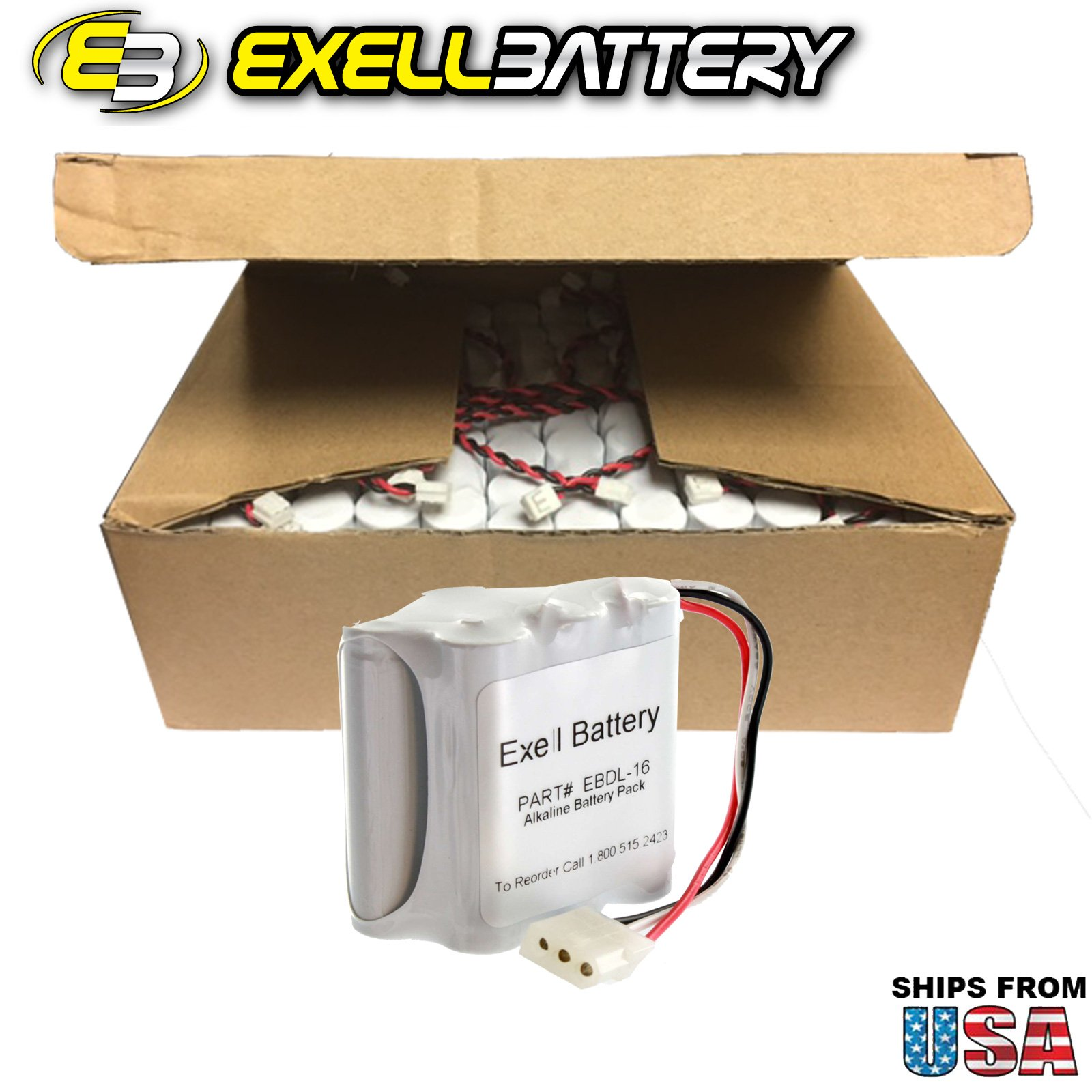 48x Exell Battery Door Lock 9V 6-Cell Battery Pack Fits Ilco Unican & Kaba Ilco 502238, 5022501070, 52238, 700, 884950, BL09, HTL-2, IL22, Interstate DRY0048, MLKBA0603, PM1700, Style D Ilco USA SHIP