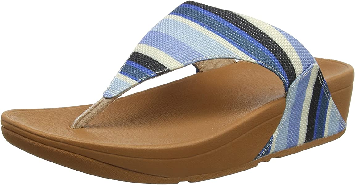e7ad2c307 Fitflop Women s LULU Toe-Thong Sandals-Stripey Canvas Open Blue