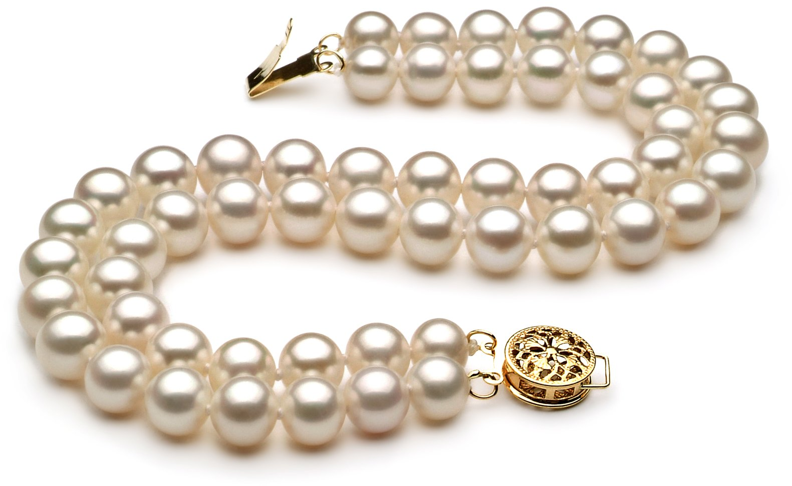 PearlsOnly - Liska White 6-7mm Double Strand AA Quality Freshwater Cultured Pearl Set-18 in Princess length by PearlsOnly (Image #3)