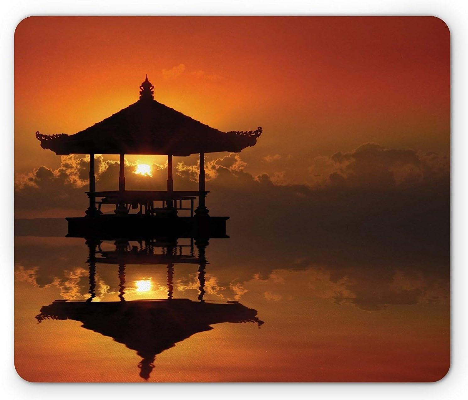 Alfombrilla de ratón balinesa, puesta de sol en Bali Playa Bungalow Reflexión Horizonte Verano Cloudscape, Tamaño estándar Rectángulo antideslizante ...