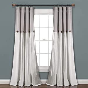 "Lush Decor, Gray/White Linen Button Window Curtain Single Panel, 95"" x 40"""