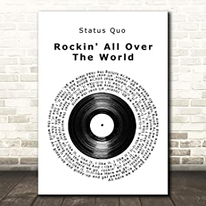 Rockin' All Over The World Vinyl Record Song Lyric Quote Music Print