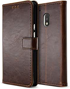 Belk Motorola Moto G4 Case, Retro Vintage Leather Wallet Case for Motorola Moto G4, Classical Manetical Snap Folio Flip Card Cover for Moto G 4th Gen (5.5 Inch) (Brown, Moto G4)