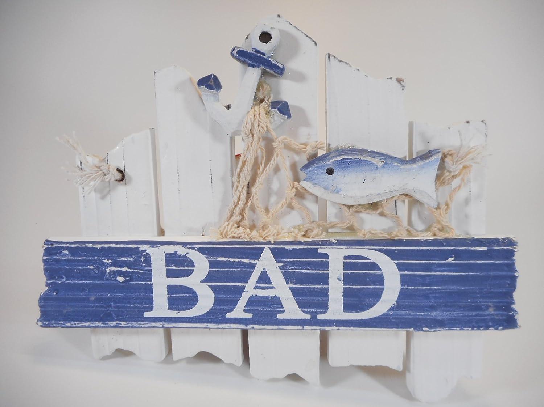 Bad Badezimmer Schild 17cm See Fisch Anker Hafen Maritim Wohnen Deko GRF  39.0903: Amazon.de: Spielzeug