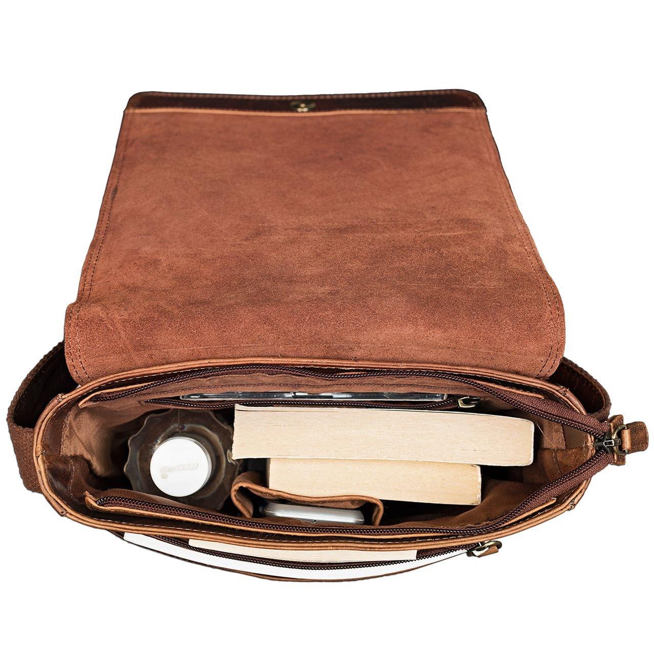 Cognac STILORD Joris Bolso de Mensajero Mediano de Piel Vintage para Tablet de 10,1 Pulgadas Bolso Bandolera o Bolsa de Hombro de Cuero para Hombres y Mujeres Color:Kara
