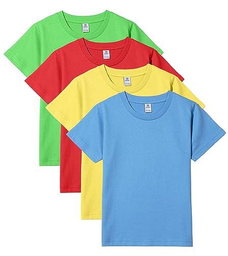 LAPASA Unisex Kids & Children T-Shirts Value Pack of 4 Short Sleeve Colourful Tees - K01
