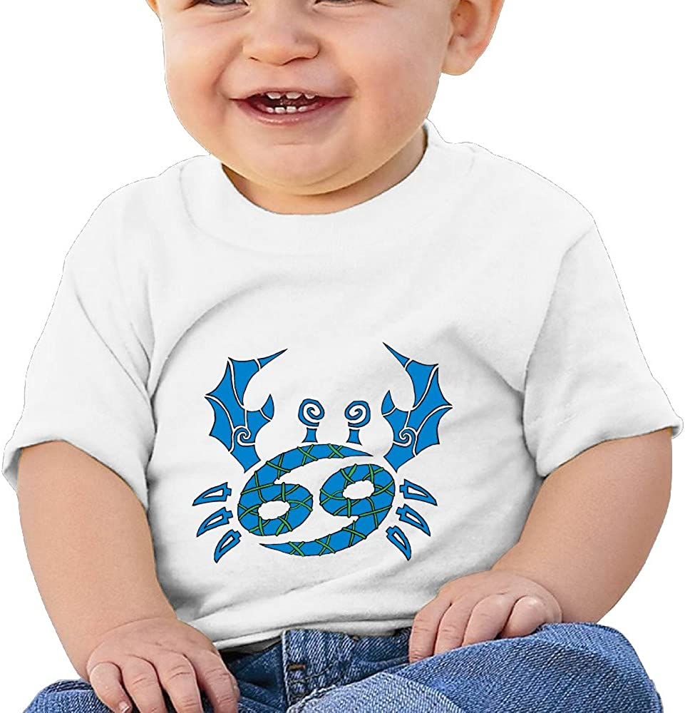Constellation Zodiac Cancer Sign Infants and Toddlers T Shirts Boys Girls Short Sleeves 6-24 Months