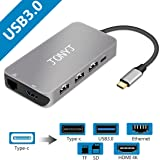 Thunderbolt 3 USB C Hub/Adapter, JONYJ 9-in-1 Type c Mcbook Pro Hub with 4K HDMI/ Type C Charging /1000 Ethernet Port, 3 USB 3.0 Ports, SD & TF Card Read for MacBook Pro 2015/2016,Chromebook and more