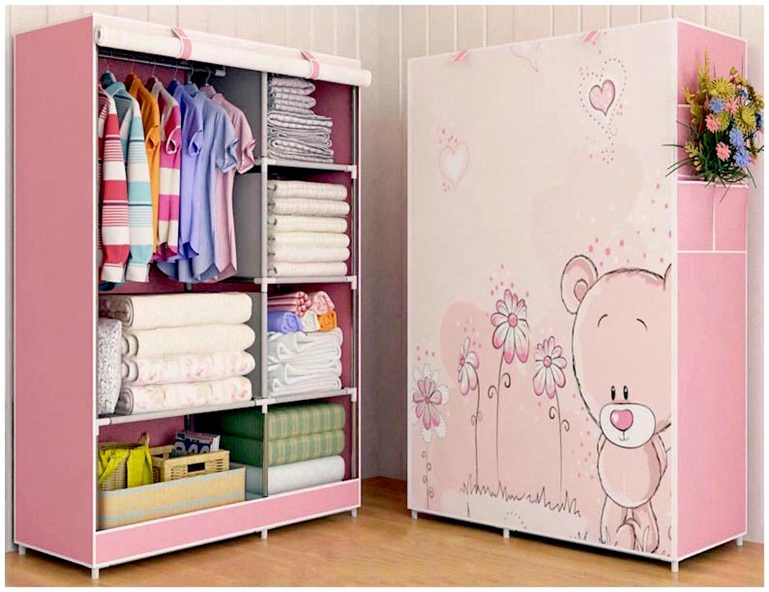 HomeTown Market A Portable Cloth Cabinet, Storage Or Wardrobe (5.57FT X 3.4FT X 17.7Inch). A Quality Cloth Organizer, Closet for Kids, Boy And Girl (Pink Bear)