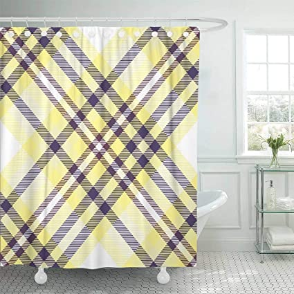 Emvency Fabric Shower Curtain With Hooks Bedclothes Tartan Plaid Pattern Checkered In Shades Of Yellow Purple