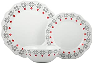 Melange 12-Piece 100% Dinnerware Set for 4 Christmas Collection-New Age Holly Shatter-Proof and Chip-Resistant Melamine Dinner Plate, Salad Plate & Soup Bowl (4 Each), 10.5