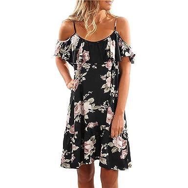 5c7531f7d24325 MEILIDONGREN Summer Floral Print Women Dress Ruffles Off Shoulder Spaghetti  Strap Beach Dress Chiffon Black S