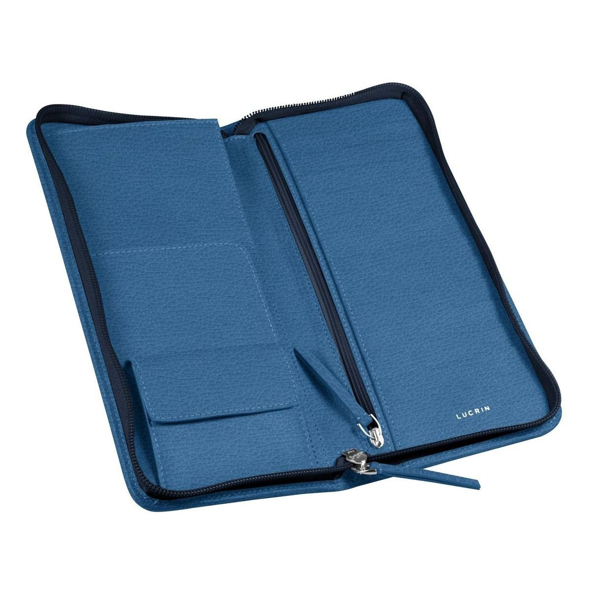 Lucrin - Deluxe travel wallet - Royal Blue - Granulated Leather