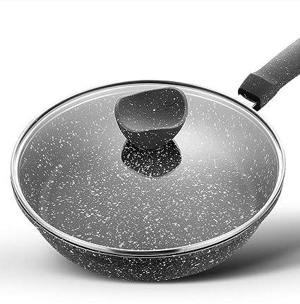 DWUN [154 Pote de Cocina, Wok casero, sartenes Maifan Stone Pan Antiadherente Steak