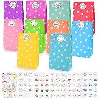 O-Kinee Set van 50 papieren snoepzakjes, feestzakjes, kleurrijke cadeauzakjes met stickers voor verjaardag, kleine…
