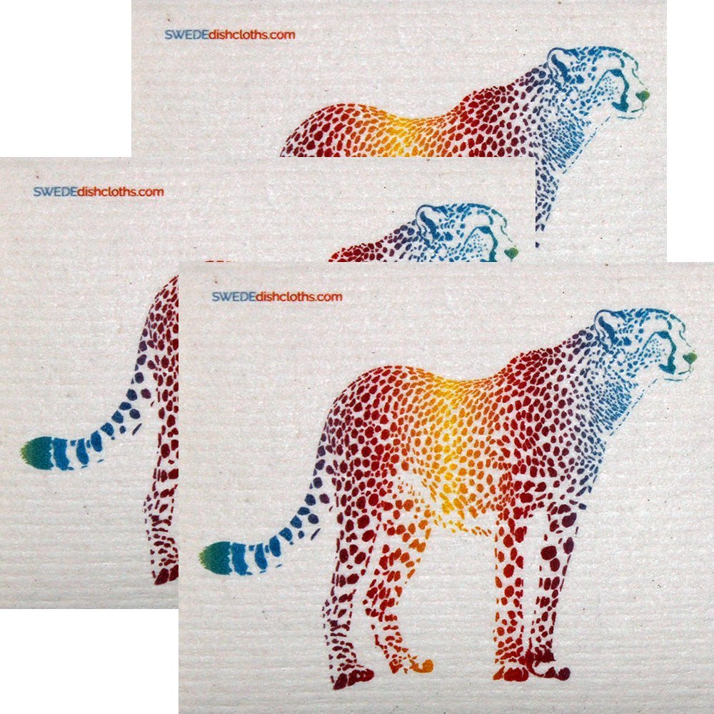 Colorful Cheetah Set of 3 each Swedish Dishcloths | ECO Friendly Absorbent Cleaning Cloth | Reusable Cleaning Wipes