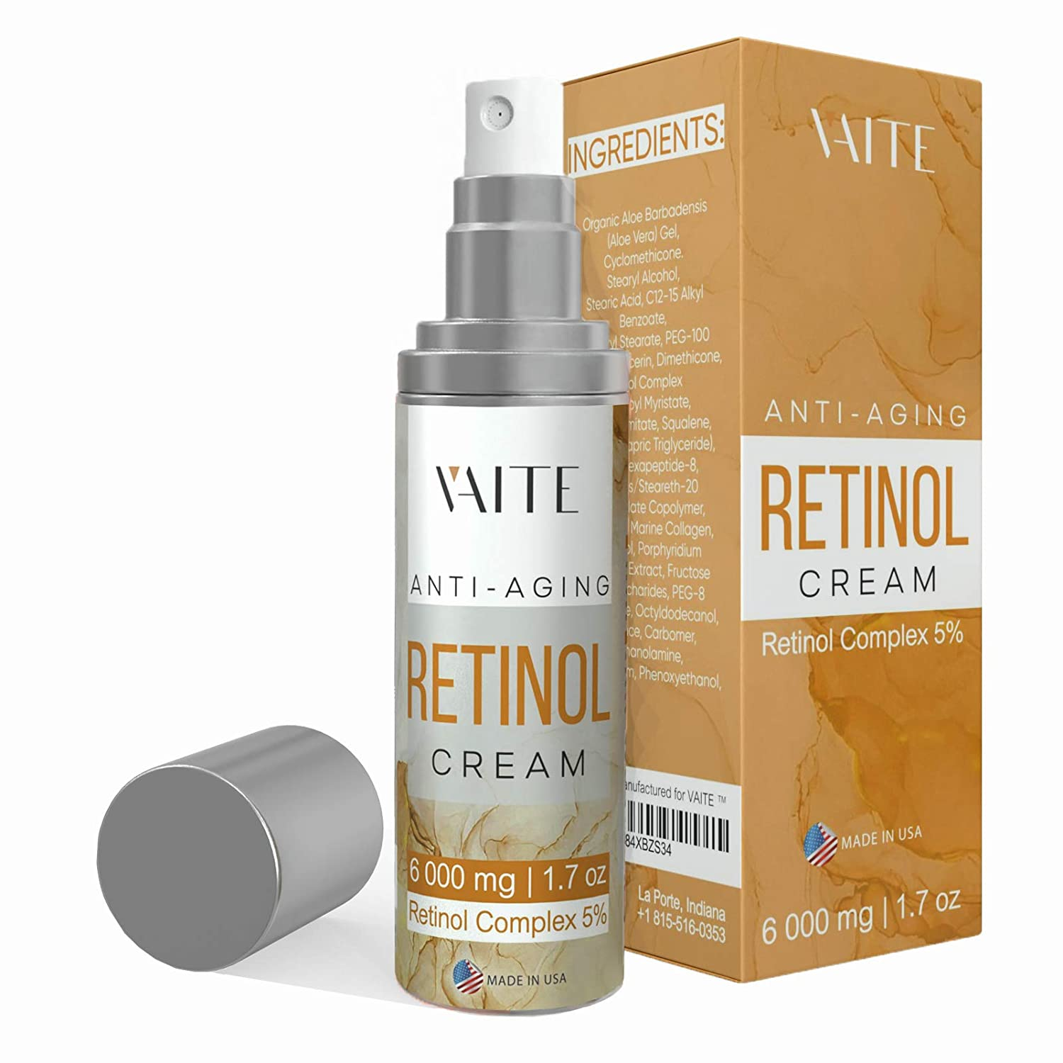 Retinol Face Cream 5% Eye Moisturizer with Hyaluronic Acid, Vitamin E for Fine Lines, Dark Spots, Wrinkles - Best Day & Night Facial Anti-Aging Creams That Really Work for Women and Men
