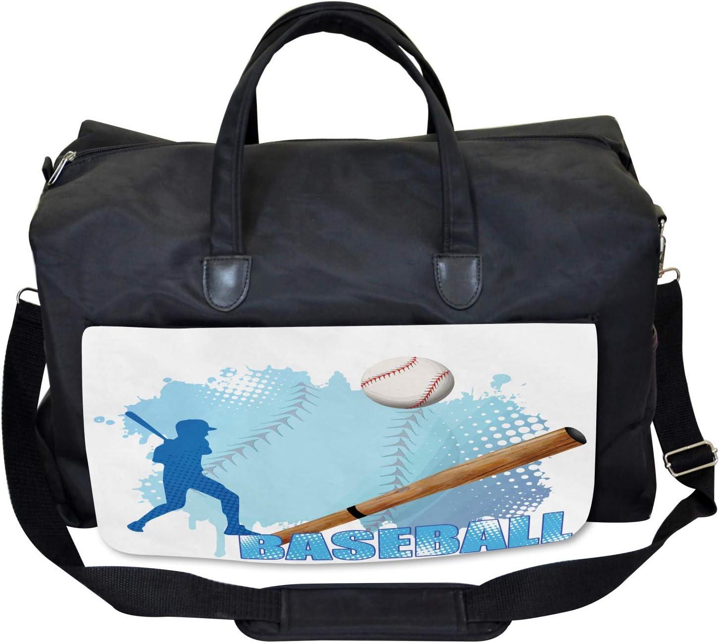 Ambesonne Sports Gym Bag Baseball Sport Cartoon Large Weekender Carry-on