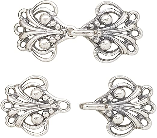 3-strand 4 sets Silver Tone Brass Hook-and-Eye Clasp
