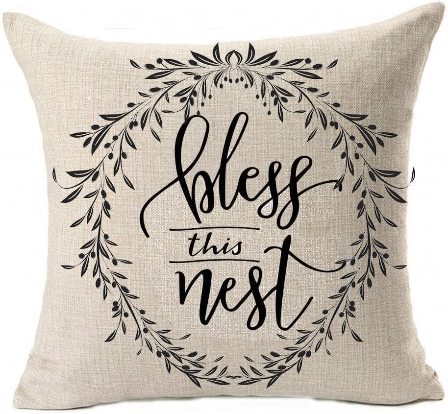 QINU KEONU Love You More Bless This Nest Vine Wreath Olive Branch Cotton Linen Throw Pillow Case Cushion Square Cover Home Sofa Decorative 18 x 18 inch (A)