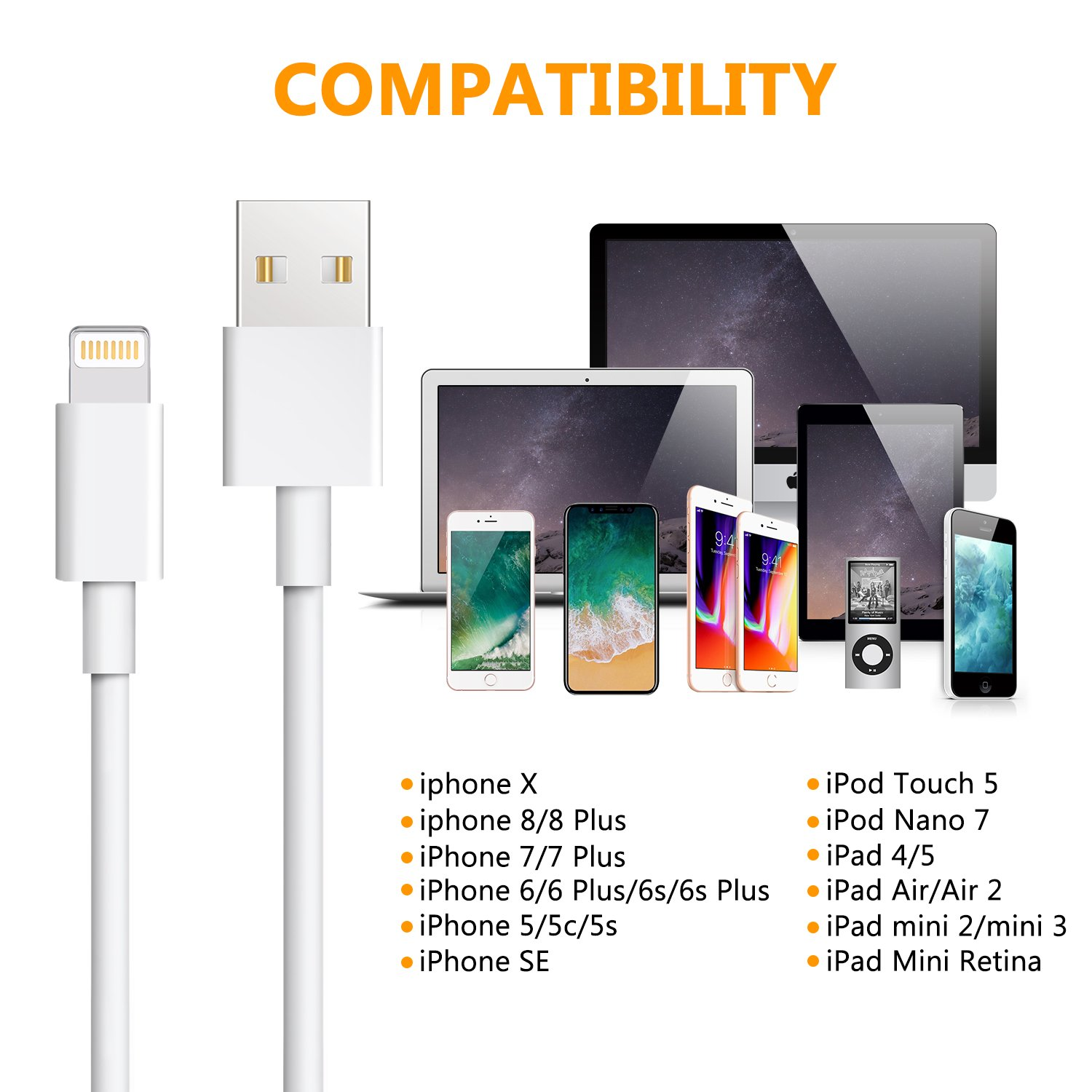 iPhone Charger,Atill 5 Pack 3ft//3ft//3ft//6ft//10ft Lightning Cable iPhone Charging Syncing Cord Charger Cable Compatible iPhone X 8 8Plus 7 7Plus 6s 6sPlus 6 6Plus SE 5 5s 5c more white