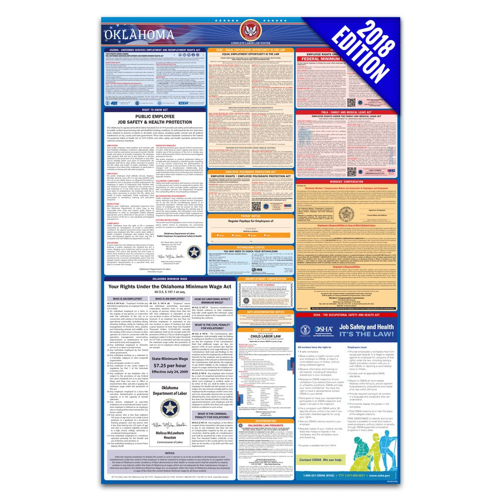 2018 Oklahoma Labor Law Poster – State, Federal, OSHA Compliant – Laminated Mandatory All in One Poster Labor Law Center Official