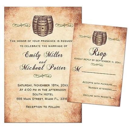 amazon com 100 wedding invitations wine barrel vintage rustic