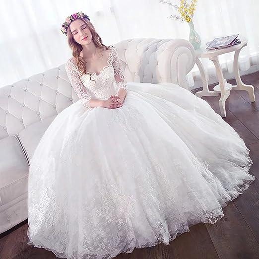 Secret Castle Vestidos de Novia de Manga Larga de Encaje una Linea de Vestido de Novia Cuello en V Blanco: Amazon.es: Ropa y accesorios