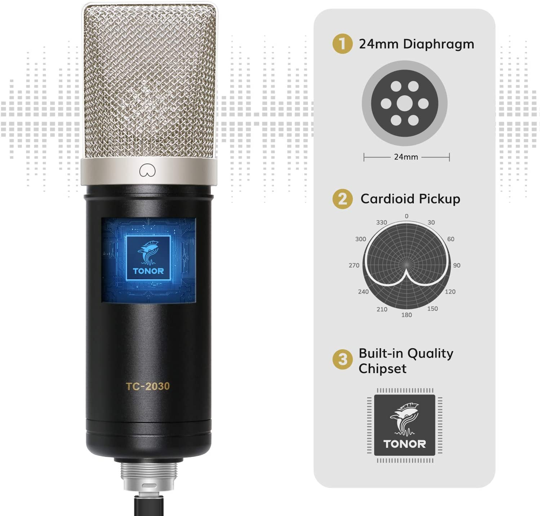 Condenser Microphone, TONOR USB Cardioid Computer Mic Kit