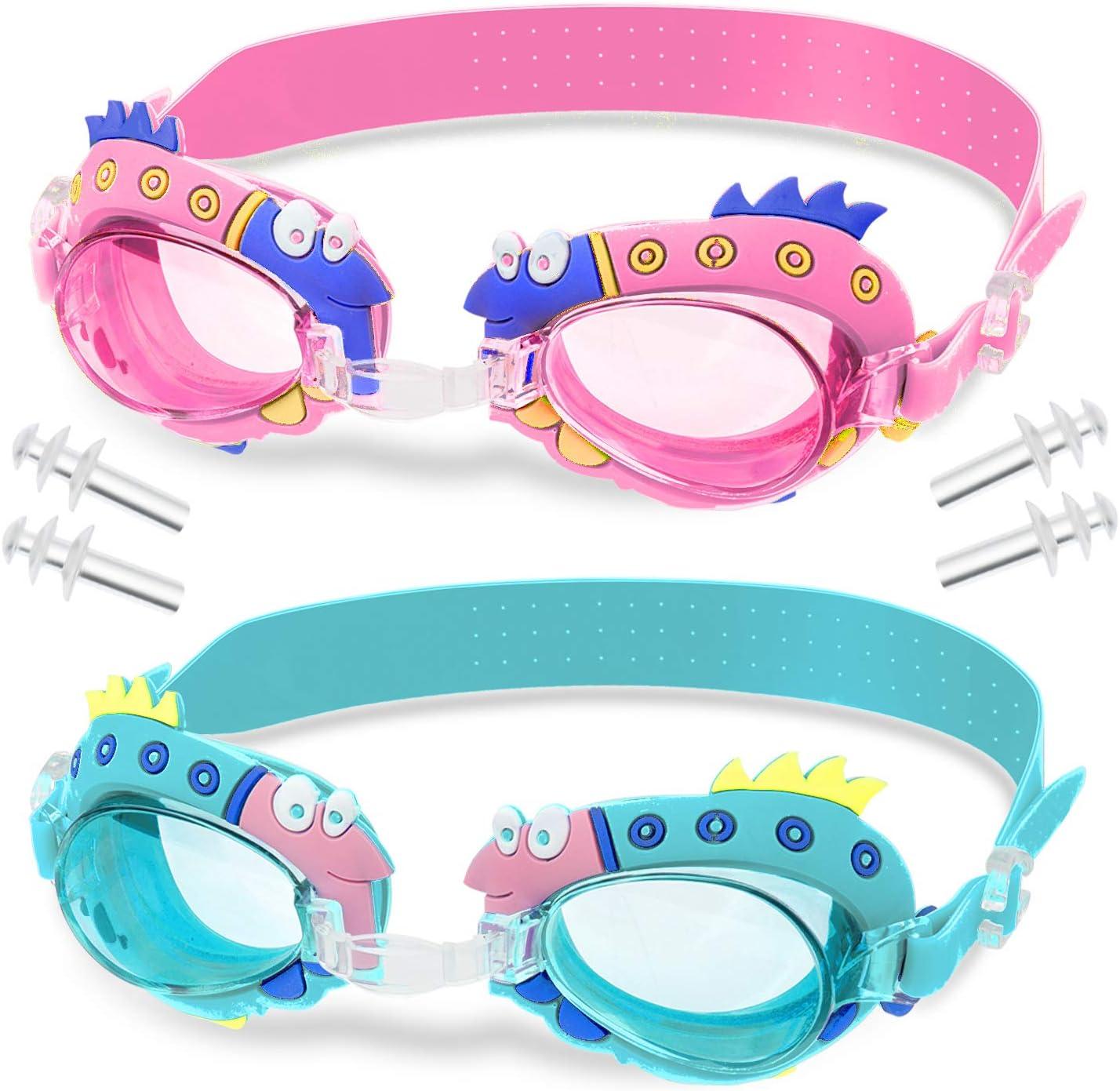 WolinTek Gafas de Natación Infantil, 2pcs Antiniebla Gafas para Nadar Antigoteo Protección UV sin Fugas incluir Enchufe de oído y Clip de Nariz Ajustable para Niñas, Niños