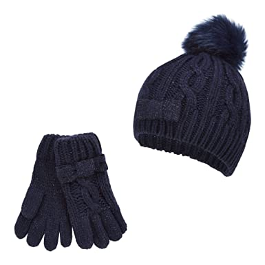 ae538f09373 J by Jasper Conran Kids Girls  Navy Pom Pom Beanie and Gloves Set  J ...