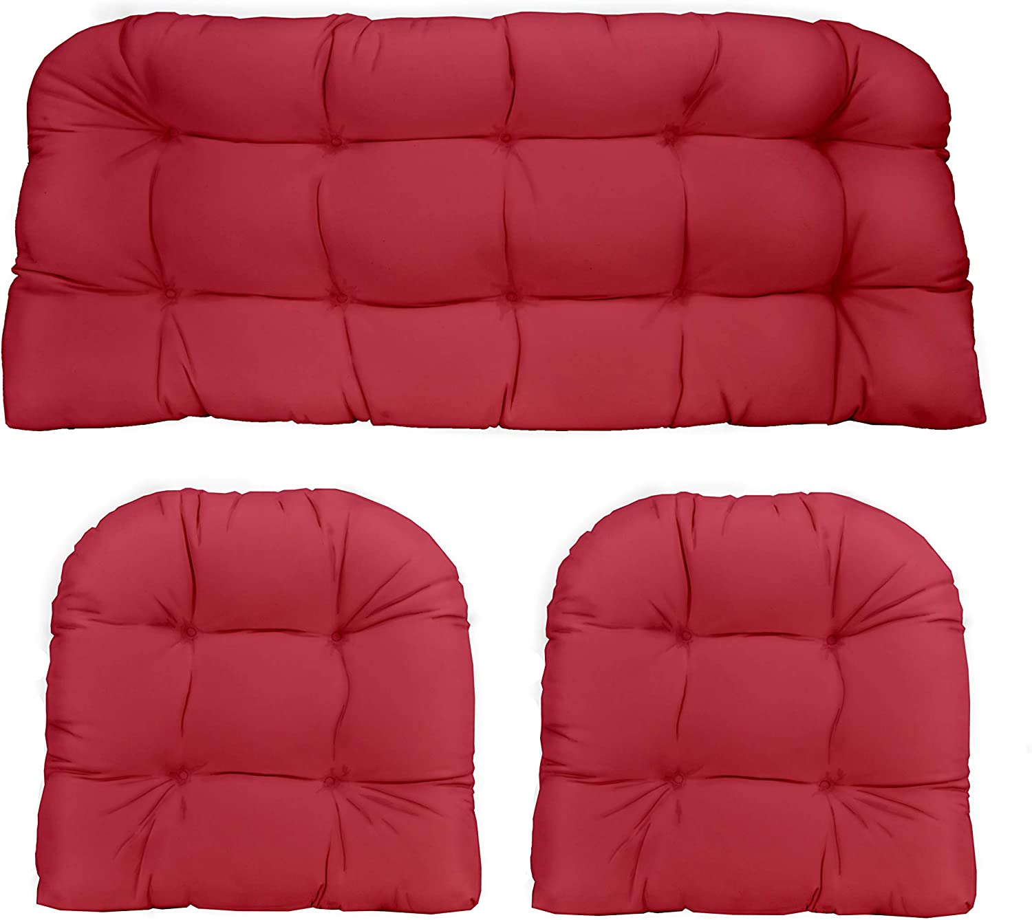 3 Piece Wicker Cushion Set Solid Hot Pink Indoor Outdoor Fabric Cushion For Wicker Loveseat Settee 2 Matching Chair Cushions Kitchen Dining