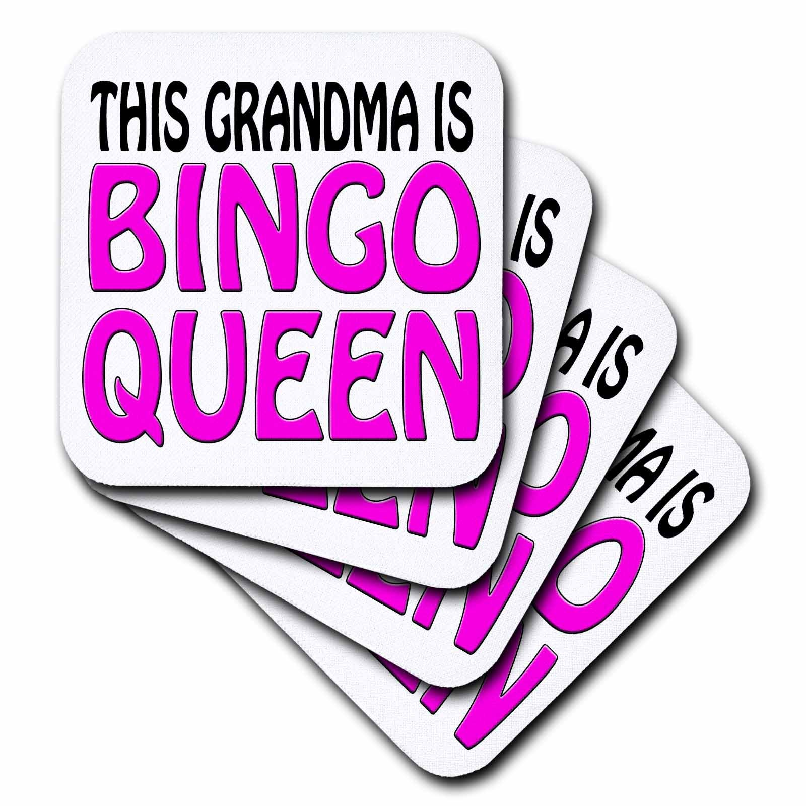 3dRose cst_149770_1 This Grandma Is Bingo Queen, Hot Pink, Soft Coasters, Set of 4 by 3dRose