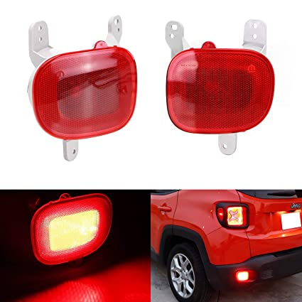 iJDMTOY Complete LED Rear Fog Light Kit For 2015-up Jeep Renegade, Includes  High Power Red LED Bulbs, Red Lens Rear Foglamp Assy & Wiring Harness