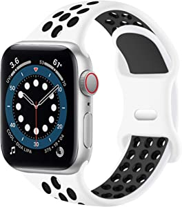 SVISVIPA Sport Bands Compatible for Apple Watch Bands 38mm 40mm,Breathable Soft Silicone Sport Women Men Replacement Strap Compatible with iWatch Series SE/6/5/4/3/2/1,White Black