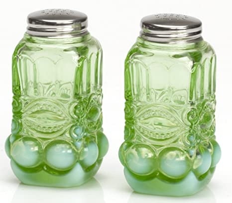 Mosser Glass Salt and Pepper Shaker Set Eyewinker Green Opalescent