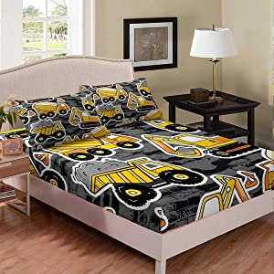 Erosebridal Boys Excavator Bedding Set Twin Size, Tractor Truck Fitted Sheet for Kids Child Girls Teens Bedroom, Construction Vehicle Crane Bed Set Blender Gray Wall Cartoon Bed Cover, Grey Yellow