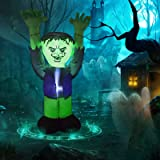 GOOSH 5 FT Halloween Inflatable Outdoor Ghost with Green Face, Blow Up Yard Decoration Clearance with LED Lights Built-in for