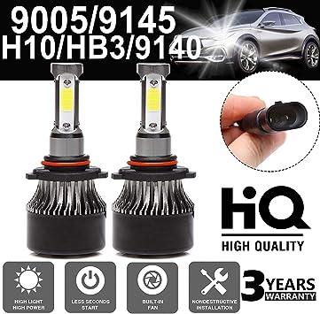 Pair H7 6000K 120W 12000LM 4-Sides Car LED Headlight Kit Beam Bulbs High Power