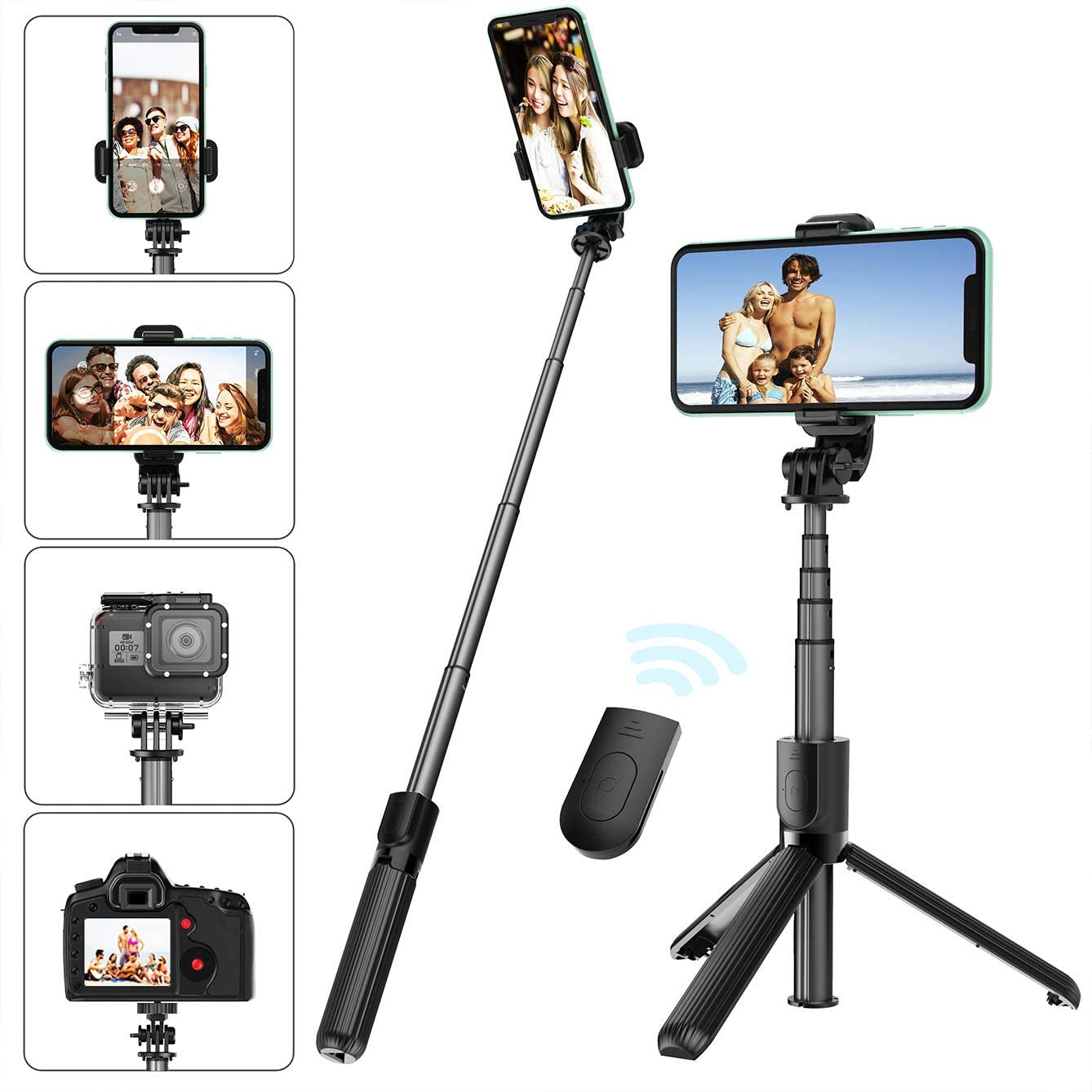Selfie Stick Tripod with Removable Wireless Bluetooth Remote Shutter Compatible,Lightweight Extendable Aluminum Pocket Selfie Stick for iPhone 11/XR/X/8/8P/7/7P Android Phone,Gopro,Webcam and Camera: Camera & Photo