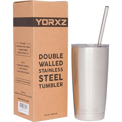 YORXZ Gobelet Isotherme Double Paroi en Acier Inoxydable avec Couvercle Coulissant et Paille (20 oz)