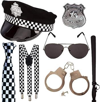 BADGE ADULT POLICE 7PC KIT HAT TRUNCHEON TIE HANDCUFFS SUNGLASSES /& BRACES