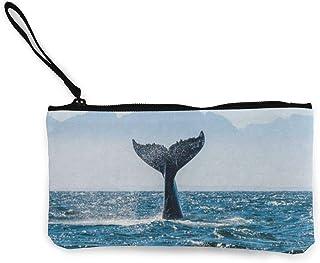 uhfgyhuihjf Canvas Coin Purse Whale Tail Customs Zipper Pouch Wallet For Cash Bank Car Passport