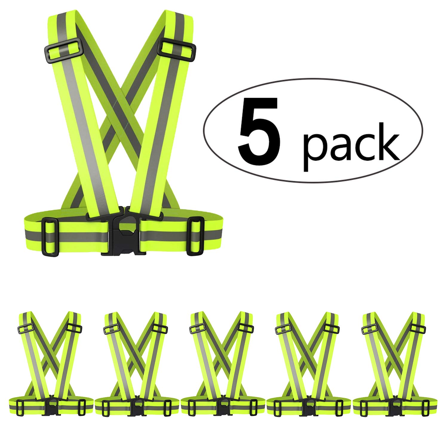 5 Pack Reflective Vest Lightweight Adjustable Safety Vest Running Vest Fully Adjustable & Multi-Purpose: Running, Cycling, Motorcycle Safety, Dog Walking - High Visibility Neon Green/Orange