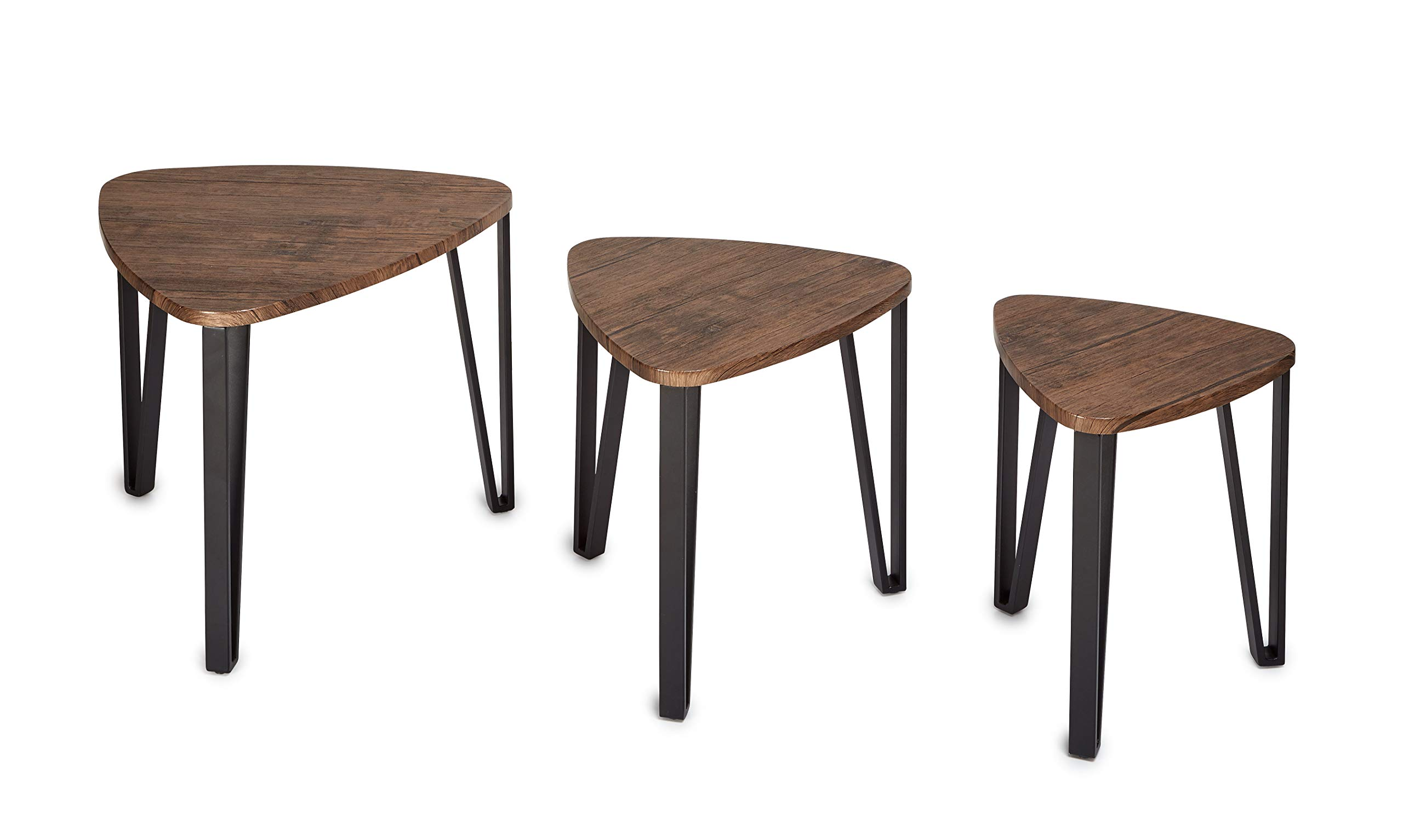 AdirHome Multifunctional Nesting Table Brown Espresso Finish Set of 3 - Stackable Modern Design for Living Room Balcony Home & Office Lounge Use (Espresso)